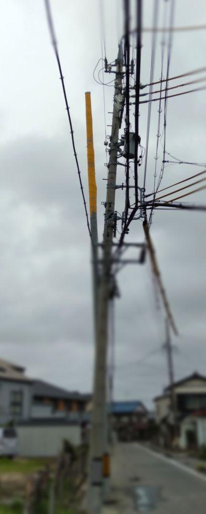 傾いた電柱の移設工事 琴 安城市 岡崎市